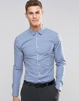 Asos Skinny Shirt In Blue Gingham Check With Long Sleeves