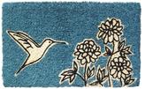 Flower and Hummingbird Hand-Woven Coconut Fiber Doormat