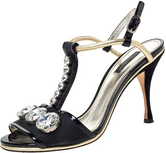 Dolce & Gabbana Black Patent Leather And Fabric Crystal Embellished Slingback Sandals Size 38