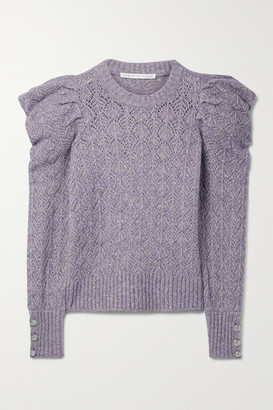 Veronica Beard Novah Pointelle-knit Sweater