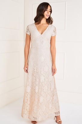 Yumi Sequin Detailed V Neck Lace Maxi Dress