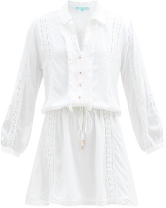 Melissa Odabash Scarlett Ruffled Drawstring Shirt Dress - White