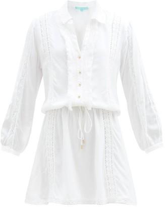 Melissa Odabash Scarlett Ruffled Drawstring Shirt Dress - White