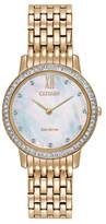 Citizen Eco-Drive Silhouette Crystal Mother-of-Pearl Rosetone Bracelet Watch