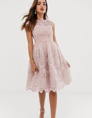 Chi Chi London premium lace midi prom dress with bardot neck in mink