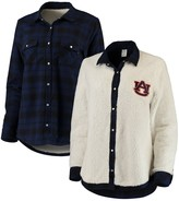 Unbranded Women's Navy/Cream Auburn Tigers Reversible Sherpa Flannel Long Sleeve Button-Up Shirt