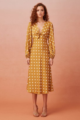 Keepsake FOR KEEPS LONG SLEEVE MIDI DRESS gold polkadot