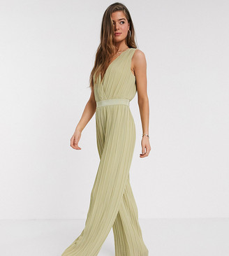 Y.A.S Tall pleated jumpsuit with deep v neck in green