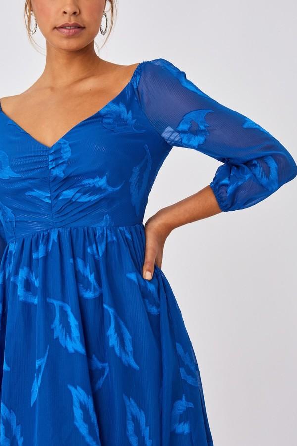 Thumbnail for your product : Little Mistress Lela Cerulean Blue Textured Leaf Skater Dress
