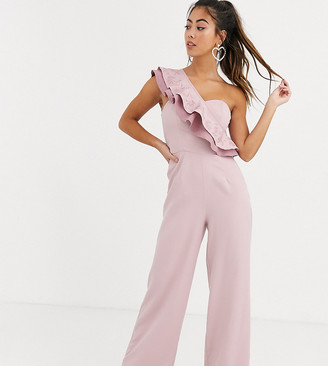 Chi Chi London one shoulder ruffle jumpsuit in mink