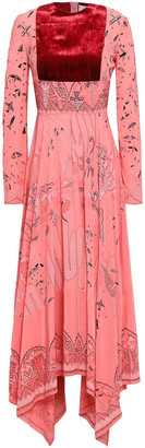 Valentino Velvet-paneled Printed Silk Crepe De Chine Midi Dress