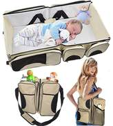 szhxsm - Baby 3 in 1 Portable Bassinet, Diaper Bag and Change Station with Fitted Sheet and Carabiner Keyring (Cream)