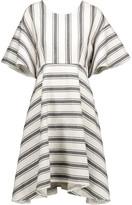 Tibi Ariel cutout striped cotton and linen-blend dress