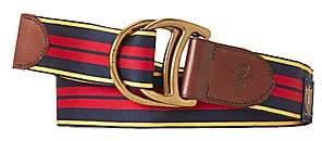 Polo Ralph Lauren Men's D-Ring Striped & Leather Belt