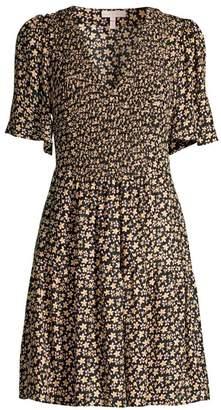 Rebecca Taylor Louisa Floral Smocked Bodice A-Line Dress