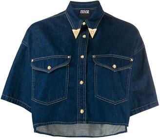 Versace metal-tip collar cropped denim shirt