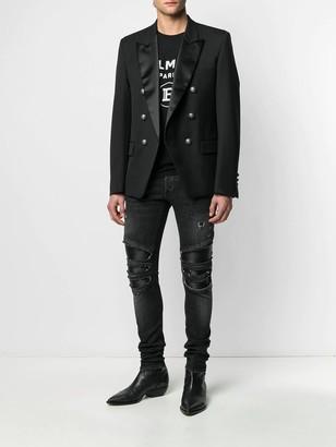 Balmain Distressed Skinny Zipped Jeans