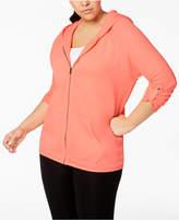 Calvin Klein Plus Size Distressed Fleece Zip Hoodie