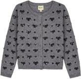 Yumi Heart & Bow Knitted Cardigan Grey
