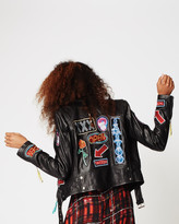 Nicole Miller Neon Signs Leather Jacket