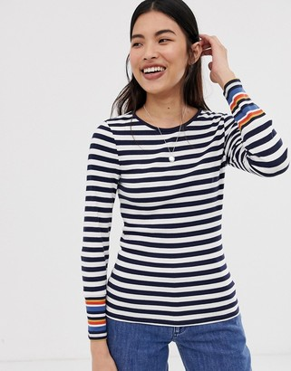 Only Bella stripe long sleeved t-shirt-Navy
