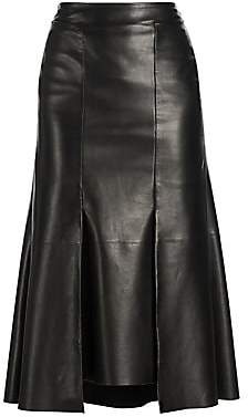 Alexander McQueen Women's Pleated Leather Midi Skirt