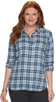 Chaps Plus Size Plaid Twill Button-Down Shirt