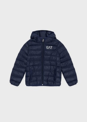 Emporio Armani Quilted Padded Jacket In Technical Fabric With Hood
