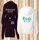 Etsy Monogram Hoodie Bridal Party Sweatshirt Bridesmaid Full Zip Jacket (BR006) B16