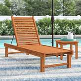 Beachcrest Home Elsmere Reclining Teak Chaise Lounge with Table