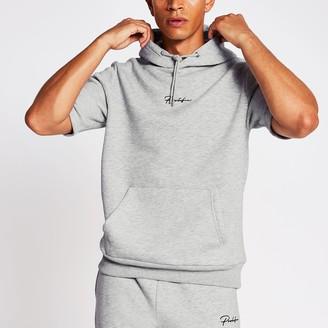 Mens River Island Prolific Grey slim fit short sleeve hoodie