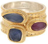 Anna Beck 18K Gold Plated Sterling Silver Ruby & Sapphire Stacking Ring Set