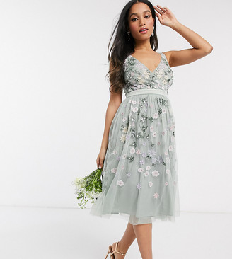 Maya Petite all over floral embellished midi dress in sage green