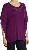 Celeste Purple Embellished Cape-Sleeve Tunic - Plus