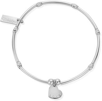Chlobo Sterling Silver Mini Noodle Sparkle Rice Love Heart Bracelet