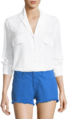 Frame Button-Front Silk Blouse