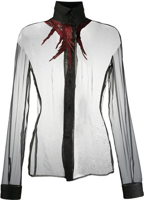 Gianfranco Ferré Pre-Owned 1990s Feather-Effect Sheer Shirt
