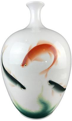 One Kings Lane Vintage Chinoiserie Porcelain Vase with Carps - multi