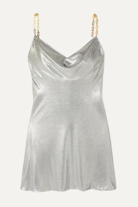 Versace Embellished Satin Mini Dress - Silver