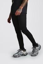boohoo Mens Black Skinny Stretch Jean With Knee Rips, Black
