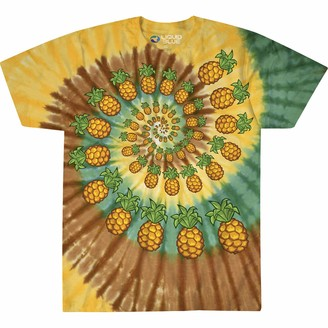 Liquid Blue Unisex-Adult's Pineapple Spiral Tie Dye Short Sleeve T-Shirt Small