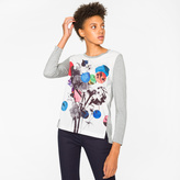 Paul Smith Women's Grey Long-Sleeve T-Shirt With 'Abstract Floral' Print