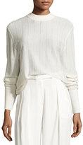 DKNY Long-Sleeve Pinstripe Wool-Blend Sweater, Gesso