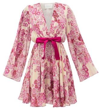 Giambattista Valli Floral-print Georgette Mini Dress - Womens - Pink Multi