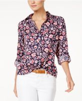 Charter Club Linen Print Blouse, Only at Macy's