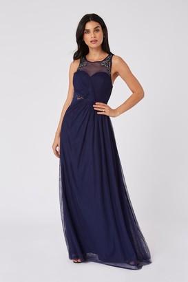 Little Mistress Bridesmaid Sonja Navy Hand-Embellished Sweetheart Maxi Dress