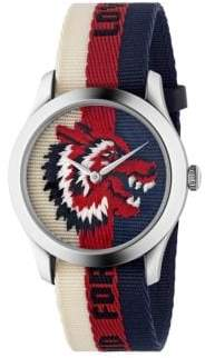 Gucci Wolf Stainless Steel& Striped Nylon Strap Watch