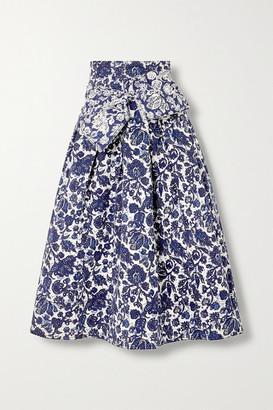 Ulla Johnson Virgil Belted Floral-print Denim Midi Skirt - Blue