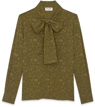 Saint Laurent Silk Floral Pussybow Blouse