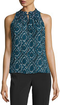Laundry by Shelli Segal Pleated-Neck Print Top, Blue